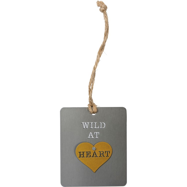"Ornament - Wild At Heart - 2.50"" x 3"" - Metal, Jute"