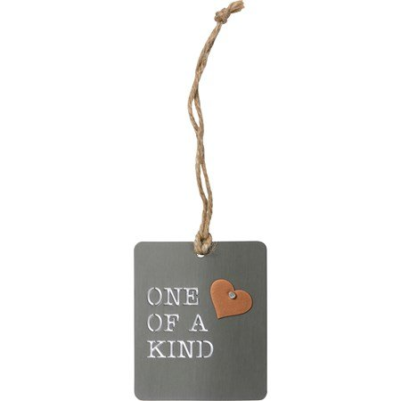 "Ornament - One Of A Kind - 2.50"" x 3"" - Metal, Jute"