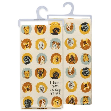 "Dish Towel - I Love You In Dog Years - 20"" x 26"" - Cotton, Linen"