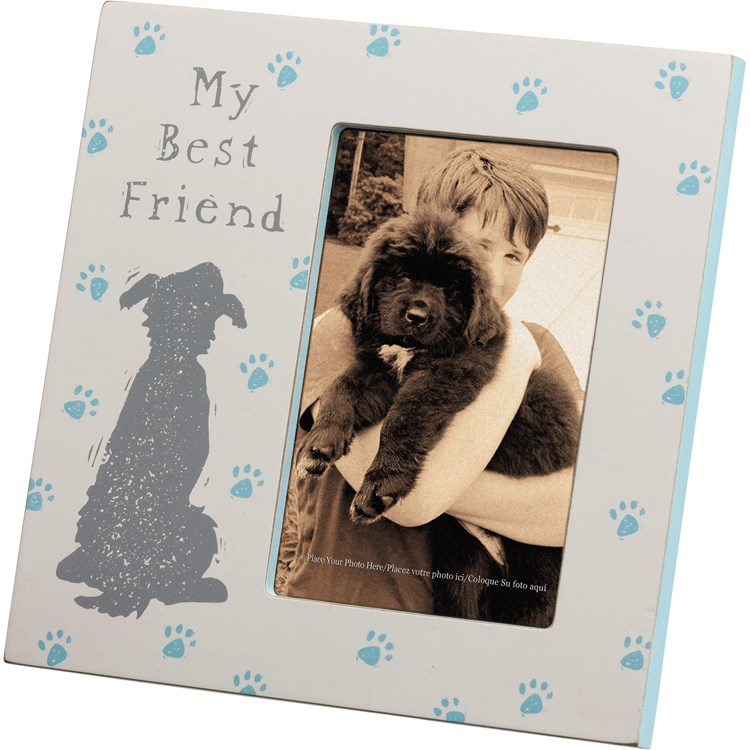 "Plaque Frame - My Best Friend - 8"" x 8"" x 0.50"", Fits 4"" x 6"" Photo - Wood, Glass, Metal"