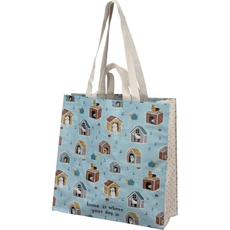 "Market Tote - Home Is Where Your Dog Is - 15.50"" x 15.25"" x 6"" - Post-Consumer Material, Nylon"