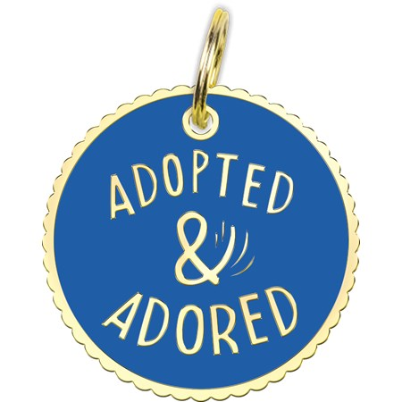 "Collar Charm - Adopted & Adored - Charm: 1.25"" Diameter, Card: 3"" x 5"" - Metal, Enamel, Paper"