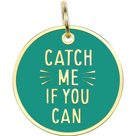 "Collar Charm - Catch Me If You Can - Charm: 1.25"" Diameter, Card: 3"" x 5"" - Metal, Enamel, Paper"