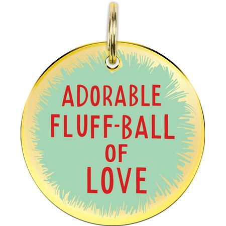 "Collar Charm - Adorable Fluff-Ball Of Love - Charm: 1.25"" Diameter, Card: 3"" x 5"" - Metal, Enamel, Paper"