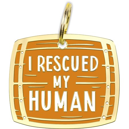 "Collar Charm - I Rescued My Human - Charm: 1.25"" x 1"", Card: 3"" x 5"" - Metal, Enamel, Paper"