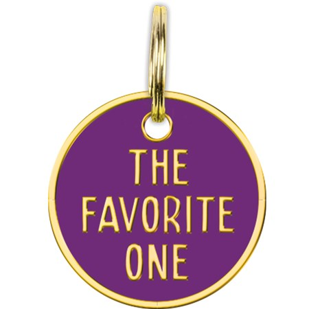 "Collar Charm - The Favorite One - Charm: 0.75"" Diameter, Card: 3"" x 5"" - Metal, Enamel, Paper"