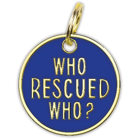 "Collar Charm - Who Rescued Who - Charm: 0.75"" Diameter, Card: 3"" x 5"" - Metal, Enamel, Paper"