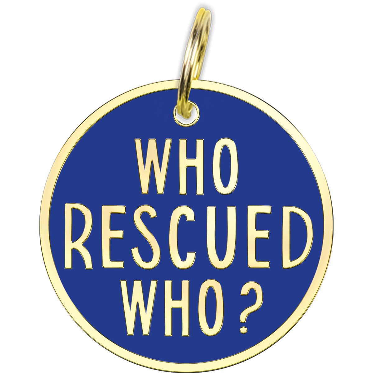 "Collar Charm - Rescued Who - Charm: 1.25"" Diameter, Card: 3"" x 5"" - Metal, Enamel, Paper"