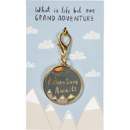 "Charm - One Grand Adventure - 1.50"" Diameter, Card: 3"" x 5"" - Metal, Enamel, Paper"