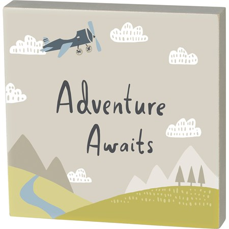 "Block Sign - Adventure Awaits - 6"" x 6"" x 1"" - Wood"