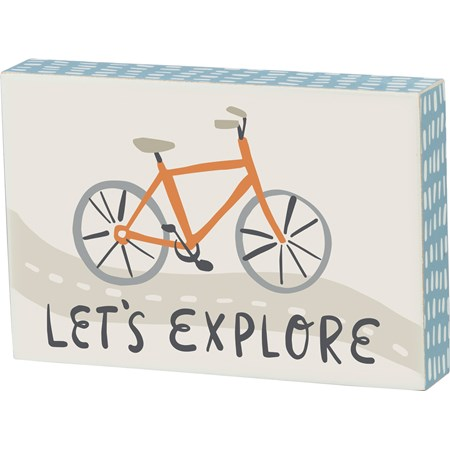 "Block Sign - Let's Explore - 6"" x 4"" x 1"" - Wood"