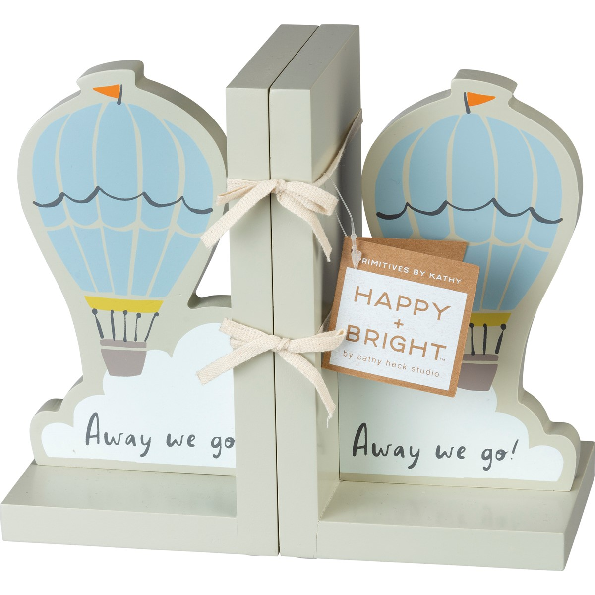 "Bookends - Away We Go - 4.25"" x 7"" x 4"" - Wood"