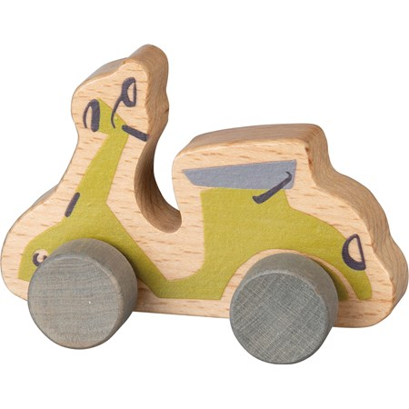 "Rolling Toy - Scooter - 5.75"" x 3.75"" x 2.75"" - Wood"