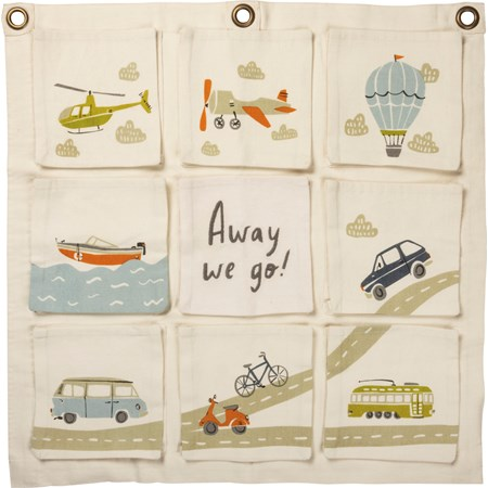 "Hanging Storage Bag - Away We Go - 22"" x 22"" - Canvas, Metal"