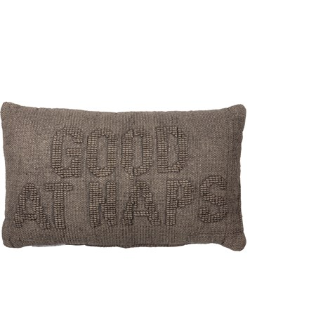 "Pillow - Good At Naps - 18"" x 12"" - Cotton, Velvet"