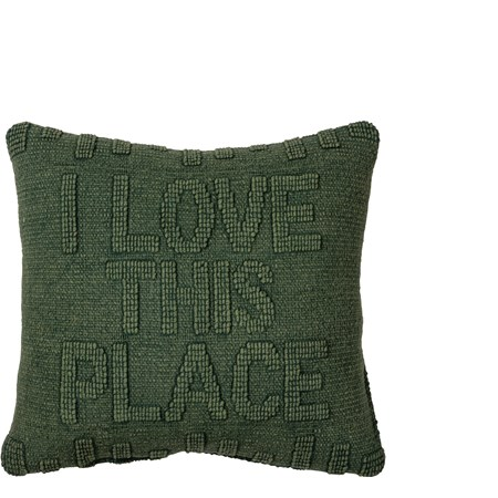 "Pillow - I Love This Place - 15"" x 15"" - Cotton, Velvet"