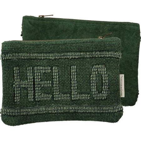 "Zipper Pouch - Hello - 9.75"" x 6.50"" - Cotton, Canvas, Metal"