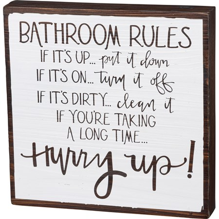 "Box Sign - Bathroom Rules - 10"" x 10"" x 1.75"" - Wood"