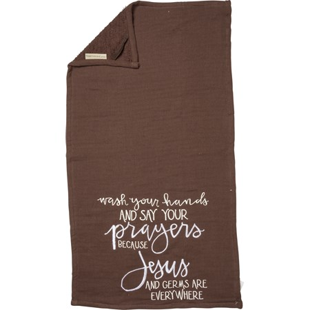 "Hand Towel - Jesus And Germs Are Everywhere - 16"" x 28"" - Cotton"