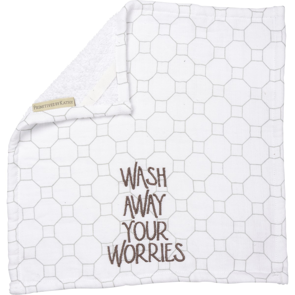"Washcloth - Wash Away Your Worries - 13"" x 13"" - Cotton, Terrycloth"