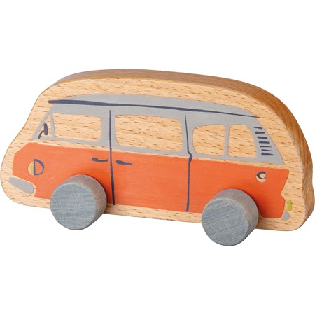 "Rolling Toy - Van - 9"" x 4.25"" x 2.75"" - Wood"