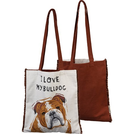 "Tote - I Love My Bulldog - 14"" x 15.50"", 12"" Handle Drop - Cotton"