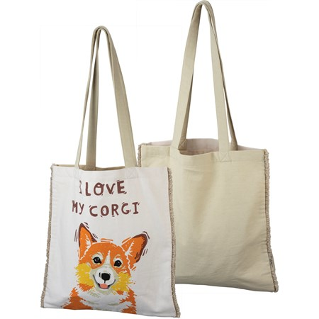 "Tote - I Love My Corgi - 14"" x 15.50"", 12"" Handle Drop - Cotton"
