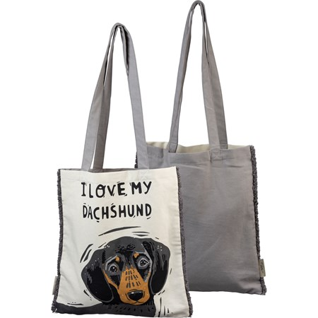 "Tote - I Love My Dachshund - 14"" x 15.50"", 12"" Handle Drop - Cotton"