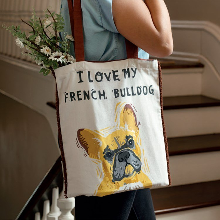 "Tote - I Love My French Bulldog - 14"" x 15.50"", 12"" Handle Drop - Cotton"