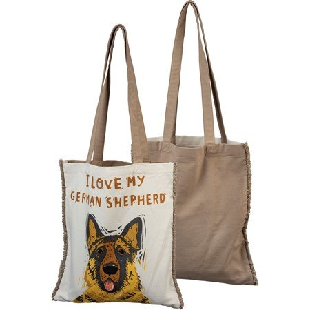 "Tote - I Love My German Shepherd - 14"" x 15.50"", 12"" Handle Drop - Cotton"