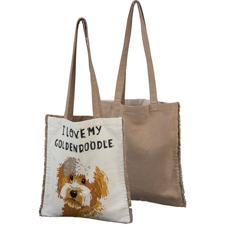 "Tote - I Love My Goldendoodle - 14"" x 15.50"", 12"" Handle Drop - Cotton"