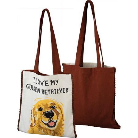 "Tote - I Love My Golden Retriever - 14"" x 15.50"", 12"" Handle Drop - Cotton"