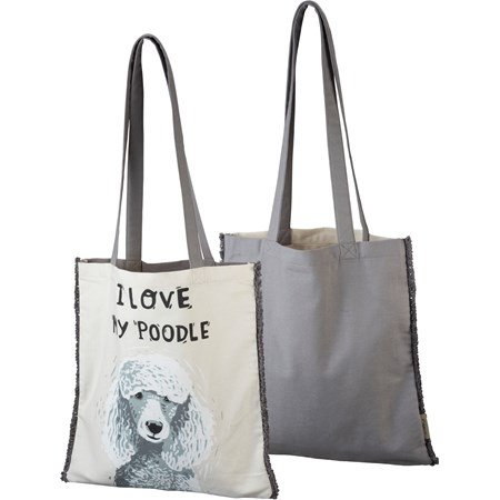 "Tote - I Love My Poodle - 14"" x 15.50"", 12"" Handle Drop - Cotton"