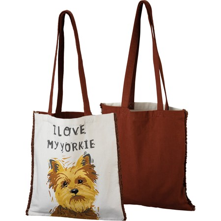 "Tote - I Love My Yorkie - 14"" x 15.50"", 12"" Handle Drop - Cotton"