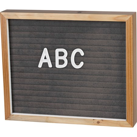 "Letter Board - Natural Gray - 12"" x 10"" x 1.75"", Characters: 0.75"" Tall - Wood, Felt"