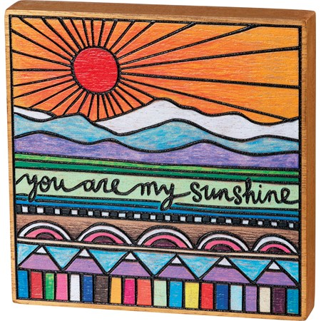 "Block Sign - You Are My Sunshine - 6"" x 6"" x 1"" - Wood"
