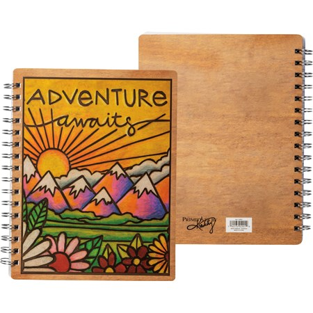 "Spiral Notebook - Adventure Awaits - 7"" x 9"" x 0.50"" - Paper, Metal"