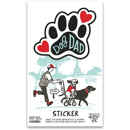 "Sticker - Dog Dad - 2.50"" x 2.25"", Card: 3"" x 5"" - Vinyl, Paper"