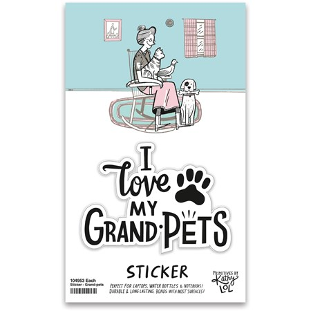 "Sticker - I Love My Grandpets   - 2.50"" x 2"", Card: 3"" x 5"" - Vinyl, Paper"