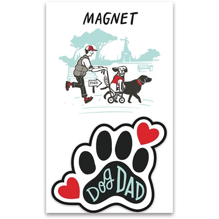 "Magnet - Dog Dad - 2.75"" x 2.50"", Card: 3"" x 5"" - Magnet, Paper"