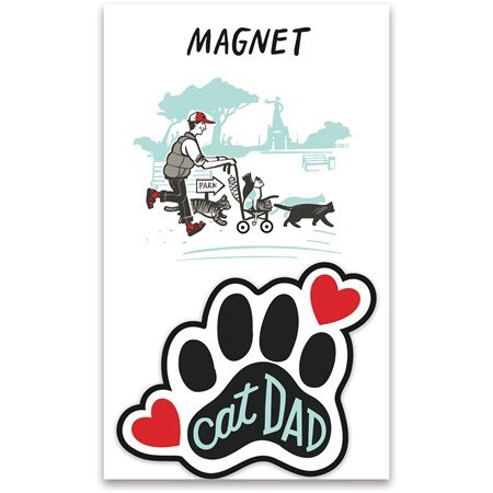 "Magnet - Cat Dad - 2.75"" x 2.50"", Card: 3"" x 5"" - Magnet, Paper"