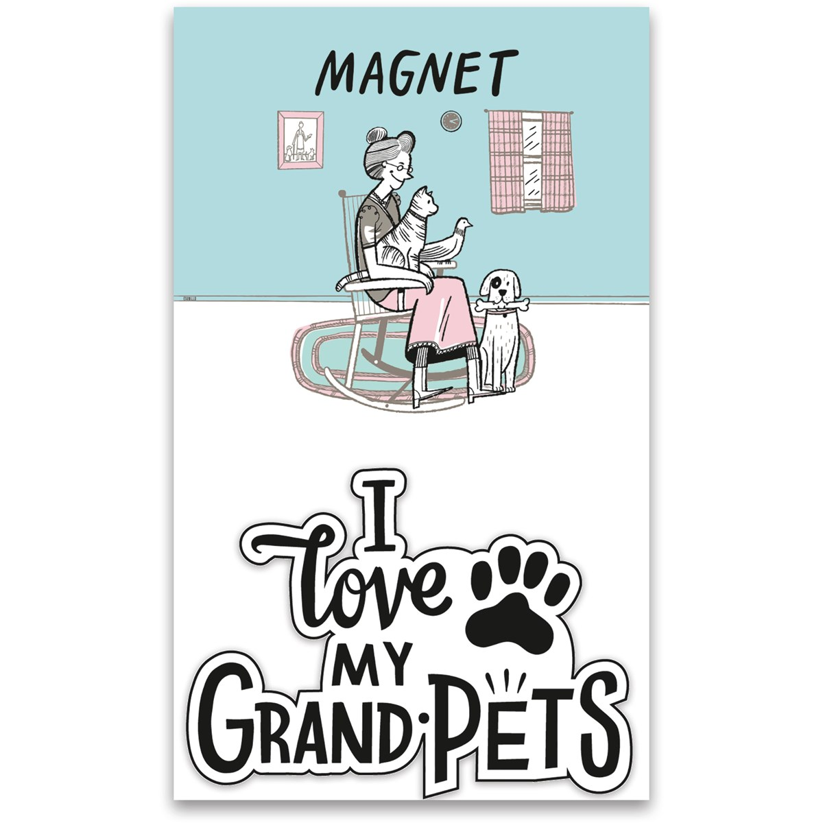 "Magnet - I Love My Grandpets   - 3"" x 2"", Card: 3"" x 5"" - Magnet, Paper"