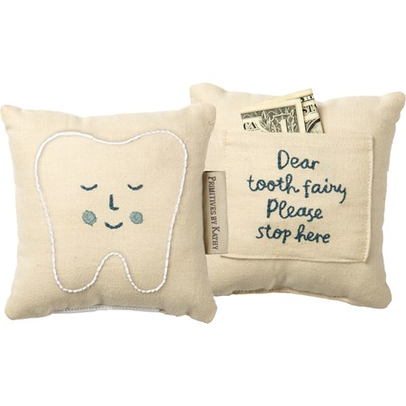 "Pillow - Tooth Fairy Blue - 5"" x 5"", Pocket: 3.50"" x 2.75"" - Cotton, Linen"