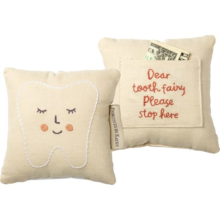 "Pillow - Tooth Fairy Pink - 5"" x 5"", Pocket: 3.50"" x 2.75"" - Cotton, Linen"