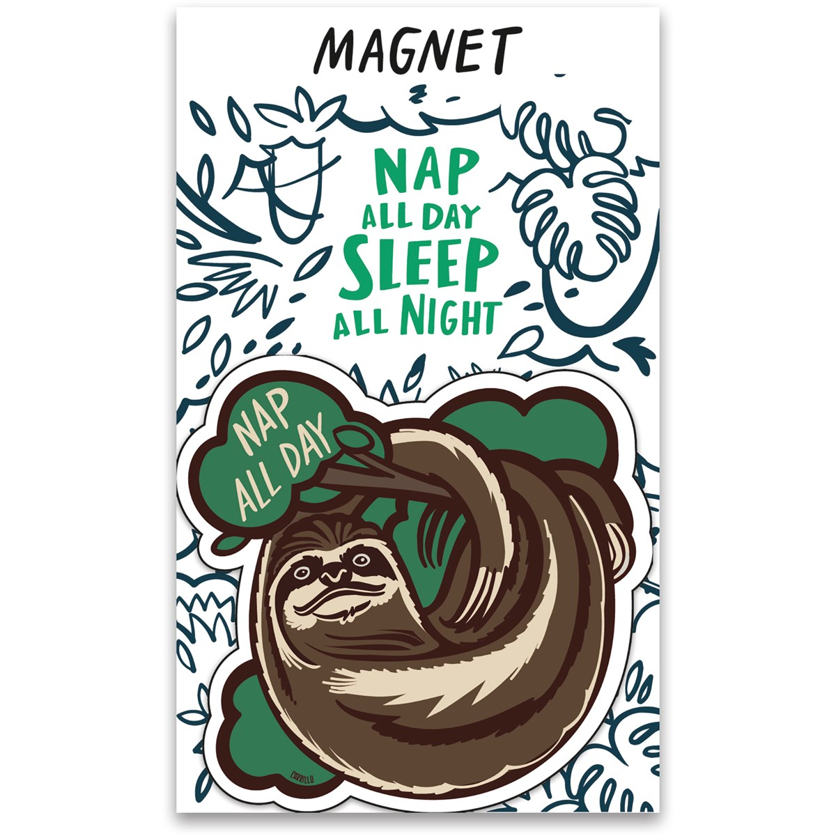 "Magnet - Nap All Day Sleep All Night - 3"" x 3"", Card: 3"" x 5"" - Magnet, Paper"