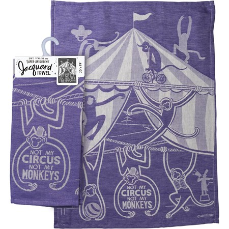 "Dish Towel - Not My Circus Not My Monkeys - 20"" x 28"" - Cotton"