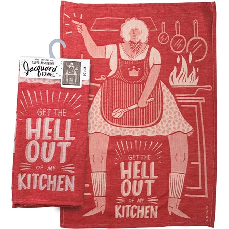 "Dish Towel - Get Out Of My Kitchen - 20"" x 28"" - Cotton"