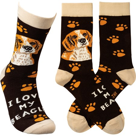 Socks - I Love My Beagle - One Size Fits Most - Cotton, Nylon, Spandex