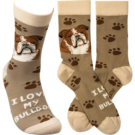 Socks - I Love My Bulldog - One Size Fits Most - Cotton, Nylon, Spandex