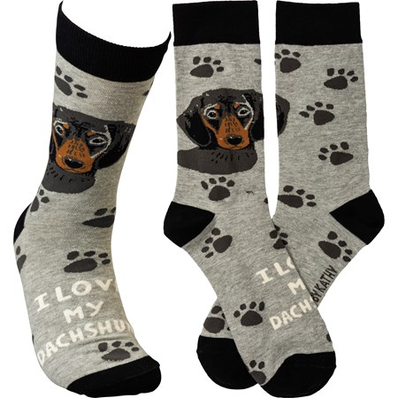 Socks - I Love My Dachshund - One Size Fits Most - Cotton, Nylon, Spandex